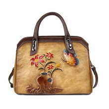 цена на High-quality cowhide one-shoulder bag Chinese style retro luxury floral handbag hand rub color cross-body leather bag for women