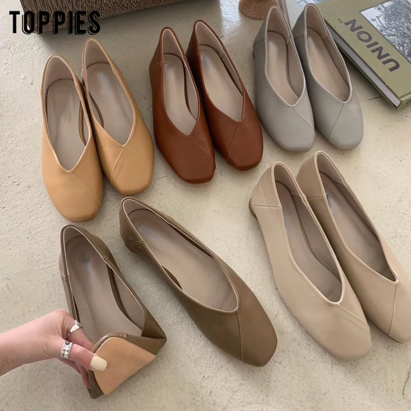 Toppies 2020 Ladies Shoes Summer Flat Shoes Women Faux Leather Elegant Office Zapatos Mujer