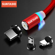 Suntaiho Magnetic Charge Cable Micro USB Cable For iPhone 11 Pro Samsung Xiaomi Fast Charging USB Type C Cable LED Charging Wire(China)