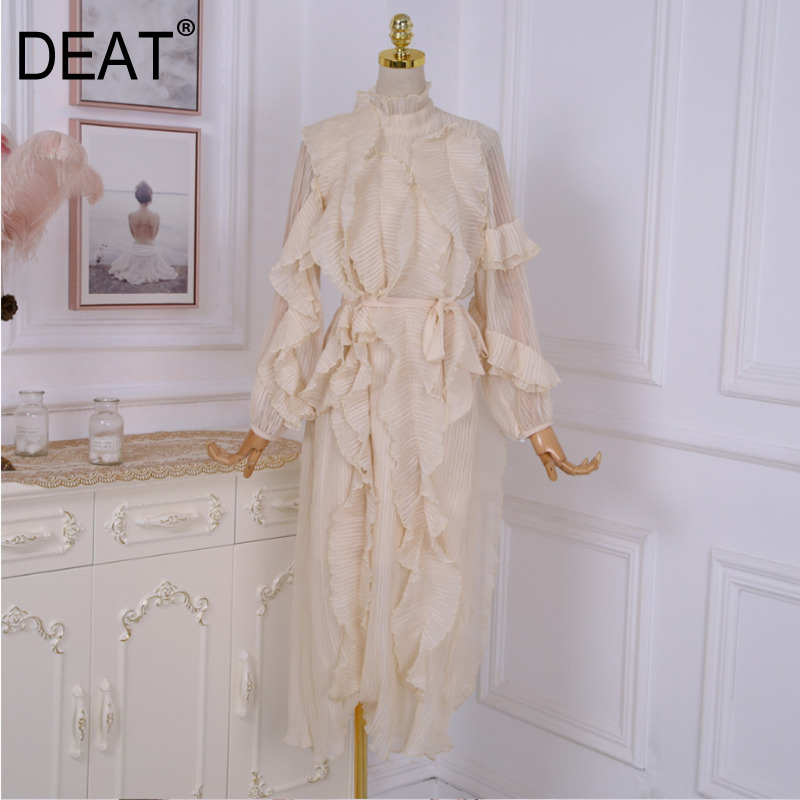 DEAT 2020 New Spring Fashion Ruffles Pleated Beige Color Stand Collar Lantern Sleeves High Waist Long Dress Female WE06912L