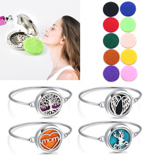 New Aroma Locket Bracelet Tree of Life Bangle Christmas Stainless Steel Essential Oil Diffuser Perfume Aromatherapy Bracelet tree of life stainless steel essential oil aromatherapy locket bracelet perfume aroma diffuser locket crystal bracelet women