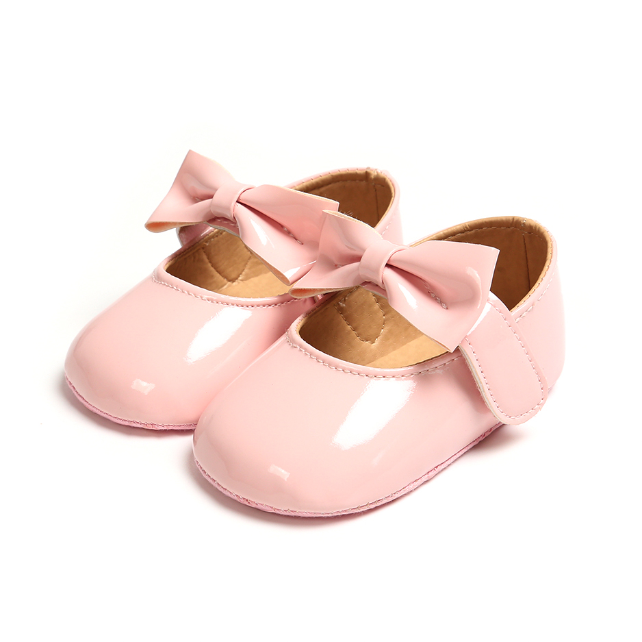 Cute Newborn Baby Girls Shoes PU Leather Buckle First Walkers With Bow Red Black Pink White Soft Soled Non-slip Crib Shoes C