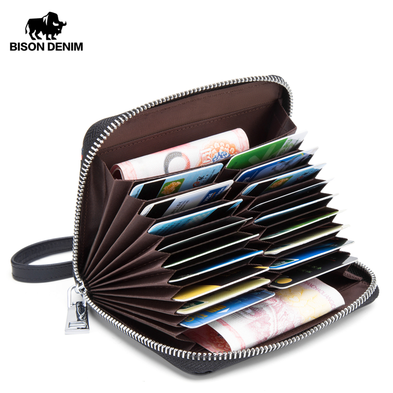 BISON DENIM Genuine Leather Wallet Male Business Credit Card Holder Wallet Multi-functional Coin Wallet Purse Small Wallet N9481