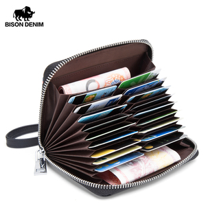 Image 1 - BISON DENIM Genuine Leather Wallet Male Business Credit Card Holder Wallet Multi functional Coin Wallet Purse Small Wallet N9481