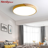 Nordic colors metal ceiling light living room wooden base lamp dining corridor ceiling lamp bedroom surface mounted led lighting