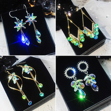 Korean Super Flash Crystal Earrings Temperament Individuality Baitao Long-style Fashion Net Red