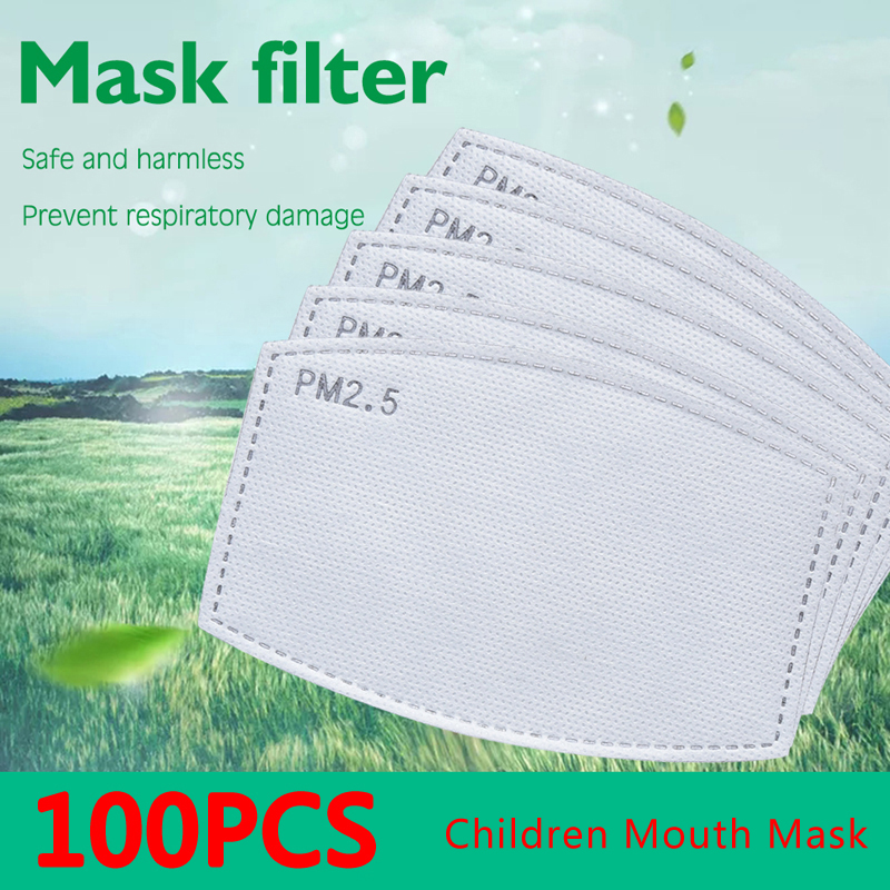 Children Drop Shipping PM2.5 Anti Haze Mouth Mask Replaceable Filter-slice 5 Layers Non-woven Child Kids Activated Carbon Filt