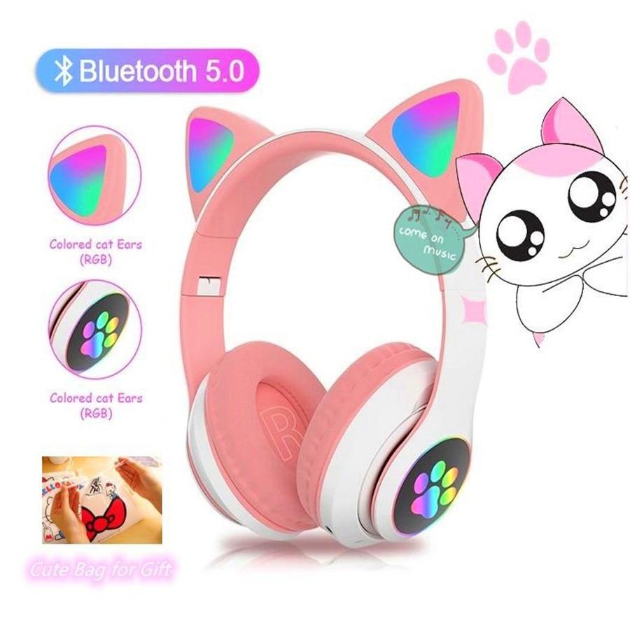 Pgdm luz brilhante gato bonito bluetooth fone de ouvido melhor presente natal sem fio led fone de ouvido estéreo música fone para crianças meninas