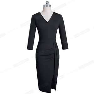 Image 4 - Nizza immer Elegant Reine Farbe Sexy Split Büro Arbeiten vestidos Business Party Bodycon Frauen Kleid B567