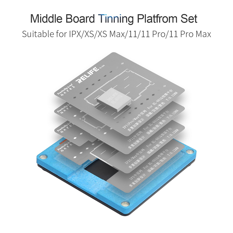 in 11Pro XS RELIFE XS for Reballing Fixture 6 11 11Pro Kit Tin iPhone MAX Stencil Motherboard Middle MAX 1 BGA Frame X Planting