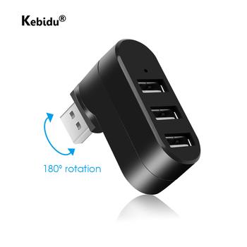 Kebidu 3 porty USB huby obróć USB 2 0 Hub Mini rozdzielacz Adapter do komputera Notebook Laptop Mac Usb 2 0 Splitter Hub tanie i dobre opinie CN (pochodzenie) HDMI Czytnik Kart NONE 15cm Brak