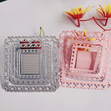 Square peach heart border cutting mold 2019 new arrival scraping metal technology DIY decoration