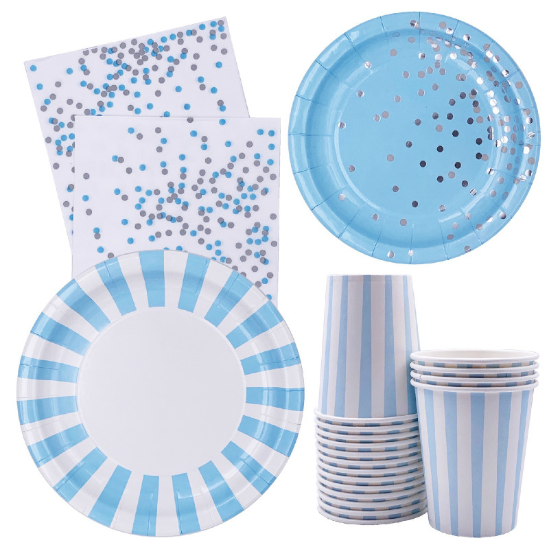 8pcs Blue Theme Silver Striped Dot Decor Paper Cup Plate Napkin BABY SHOWER Party Decor Kids Baby Boy Birthday Supplies