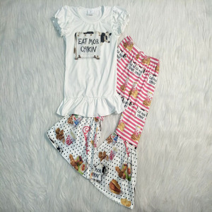 new arrival girl fashion outfit white top with cow printed hamburger pattern bell pants clothing set(China)