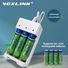 VOXLINK cargador de batería USB con 3 ranuras, cable USB para cargador de pilas recargables AA/AAA para cámara de micrófono de control remoto