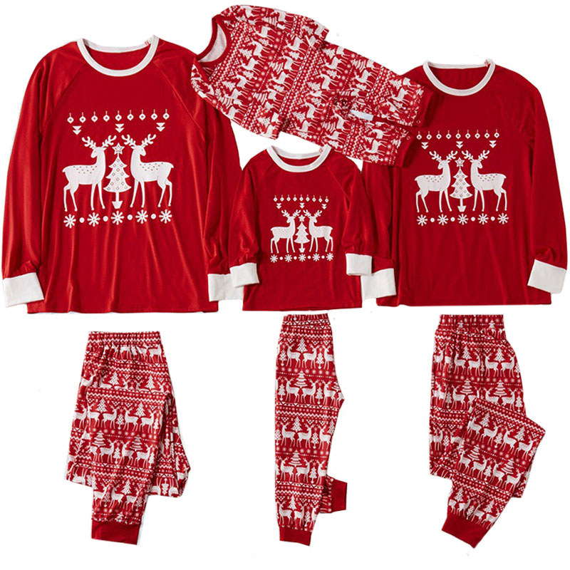 Рождественские пижамы для всей семьи, комплект рождественской одежды костюм для родителей и детей Домашняя одежда для сна новые одинаковые комплекты для семьи, для папы и мамы - Цвет: red 822