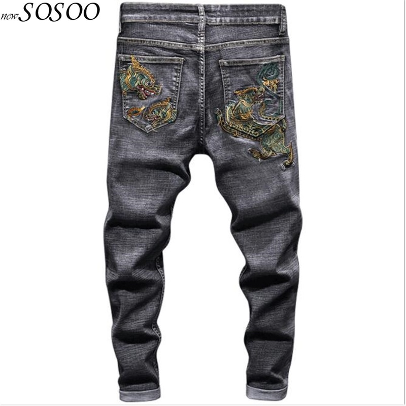 Brand New Jeans Men 100% Cotton Embroidery Black Denim Men Pants Slim Fit Personality Trousers Cool Free Shipping #80055