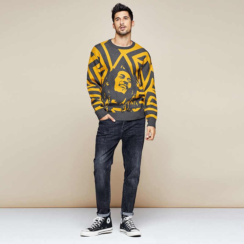 KUEGOU 2019 Herbst Patchwork Charakter Pullover Männer Pullover Lässige Jumper Für Männlichen Gestrickt Koreanischen Stil Kleidung Plus Größe 1754