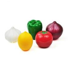 Recipientes de vegetais criativos para cozinha, recipientes de vegetais, cebola, tomate, limão, verde, pimenta, caixa de armazenamento fresco