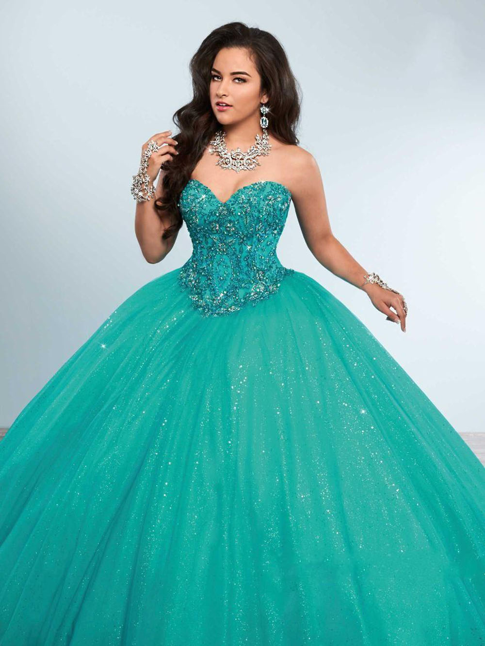 Grün Ballkleid Quinceanera Kleider Schatz Kristall Perlen Tüll Bodenlangen Korsett Masquerade Ball Kleider Süße Kleid