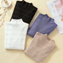 Knitted Sweater Pullovers Striped for Women Long Sleeve Half Turtleneck Female Jumper Black White Fashion Clothing