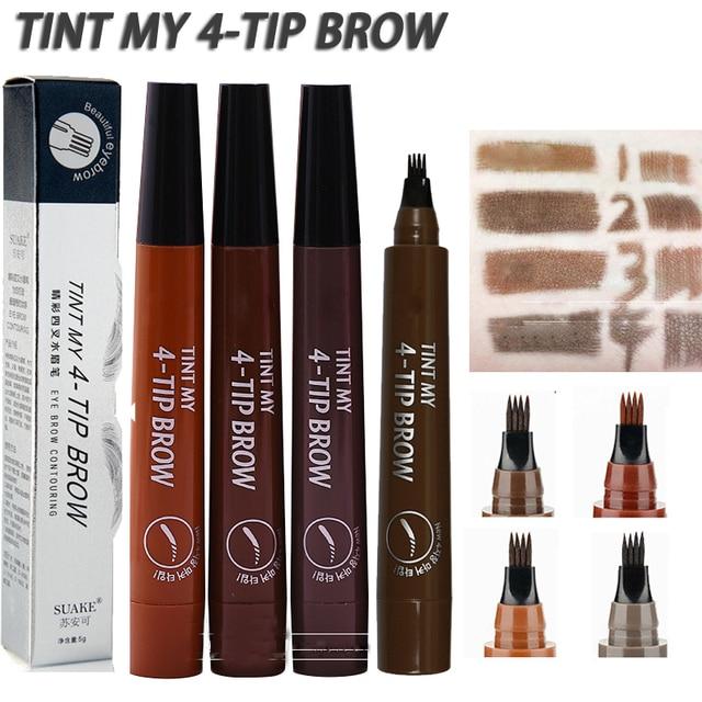 Microblading Tattoo Eyebrow Pen Fork Tip Fine Sketch Eyebrow Makeup Pencil Long Lasting 5 Colors Natural Liquid Eye Brow Pen
