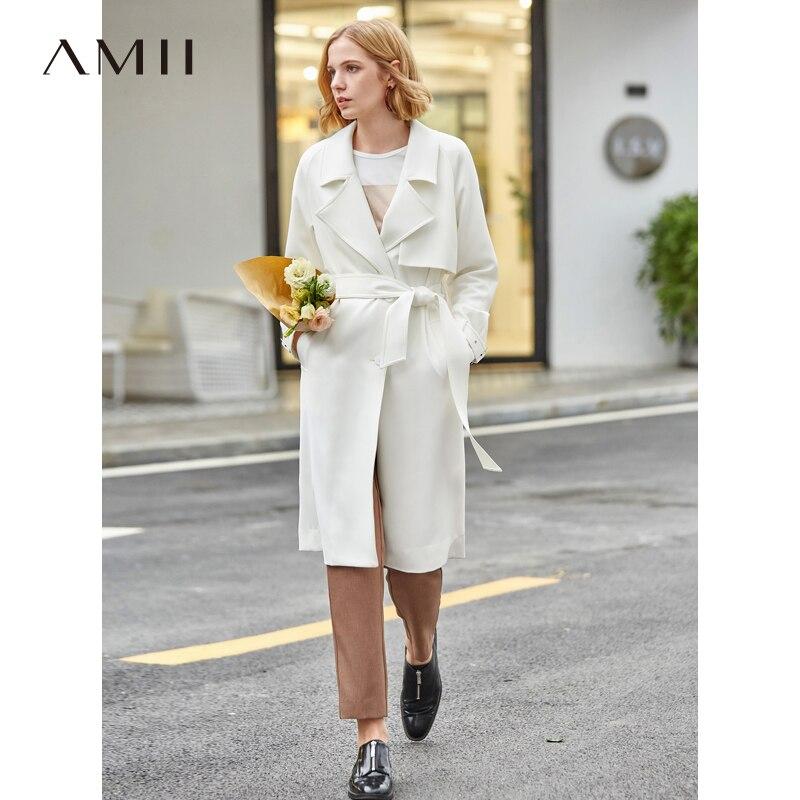 Amii Spring Women Elegant Trench Coat Female Causal Solid Turn Down Collar Belt Loose Long Jacket 11970149