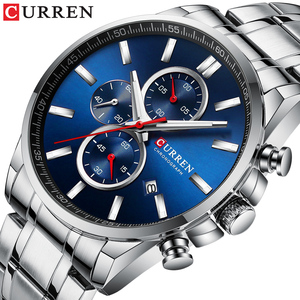 Image 1 - New Curren Watches Mens Brand Fashion Sport Chronograph Quartz Male Watch Stainless Steel Band Date Clock Luminous Pointers