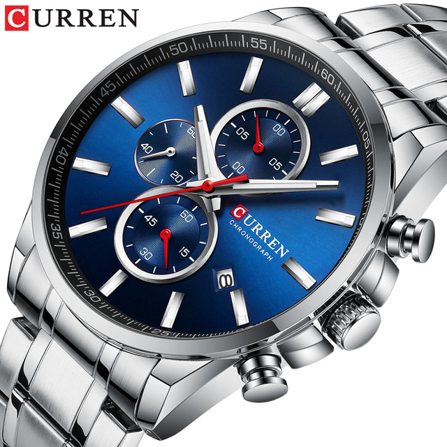 New Curren Watches Mens Brand Fashion Sport Chronograph Quartz Male Watch Stainless Steel Band Date Clock Luminous Pointers
