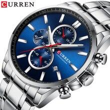 Nieuwe Curren Horloges Mannen Merk Mode Sport Chronograph Quartz Mannelijke Horloge Roestvrij Stalen Band Datum Klok Lichtgevende Pointers
