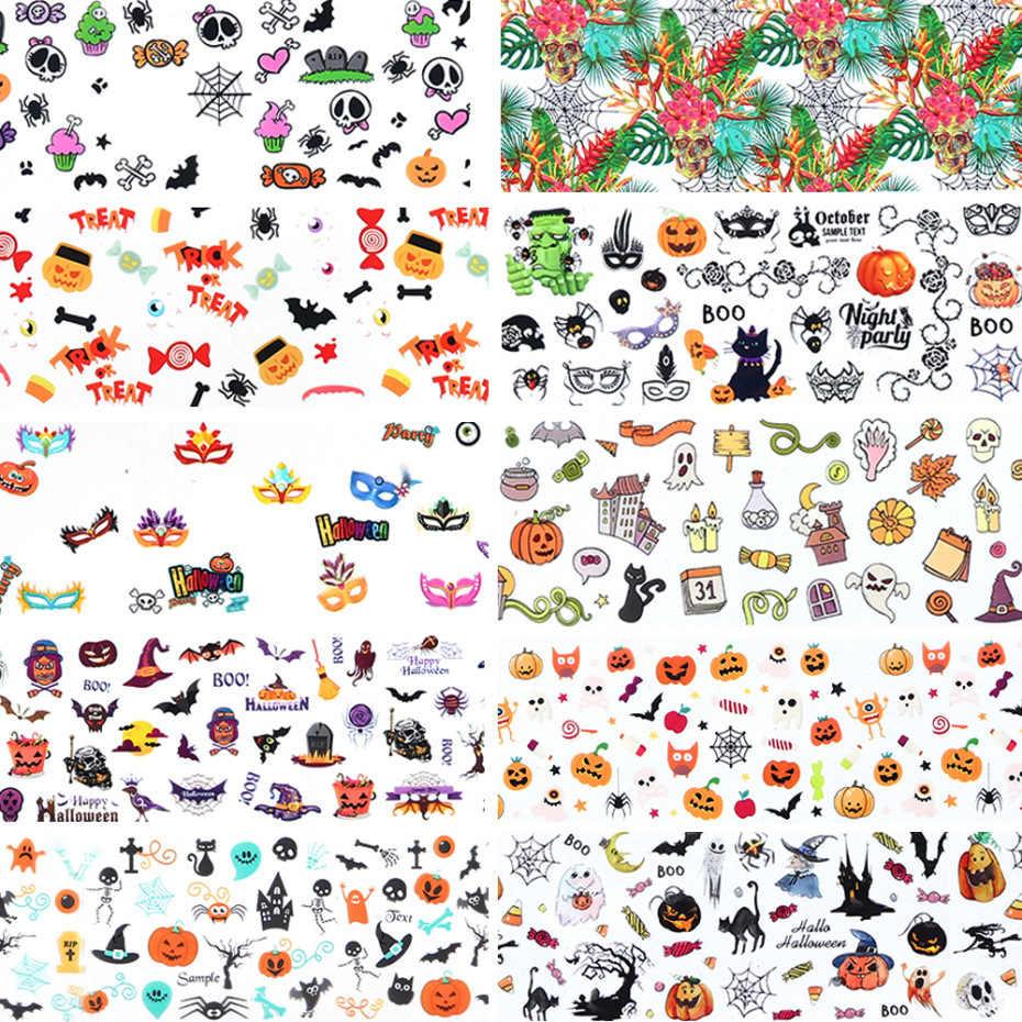 MSHARE Feuille Autocollant À Ongles De Noël Halloween Autocollants Nail Art Décoration
