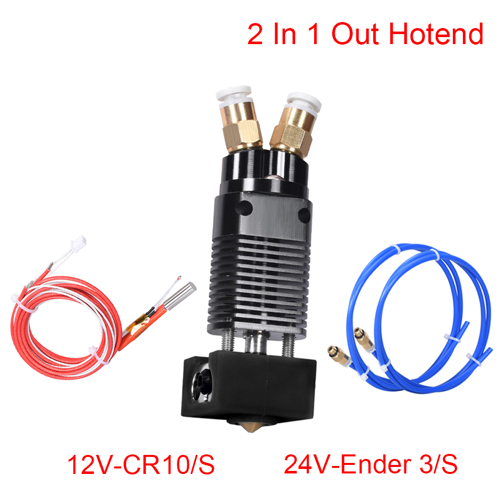Upgrade 2 In 1 Out Hotend Kit Dual Color Extruder J-head 1 75MM Filament CR10 Block 3D Printer Parts For CR10 CR-10S Ender 3 S