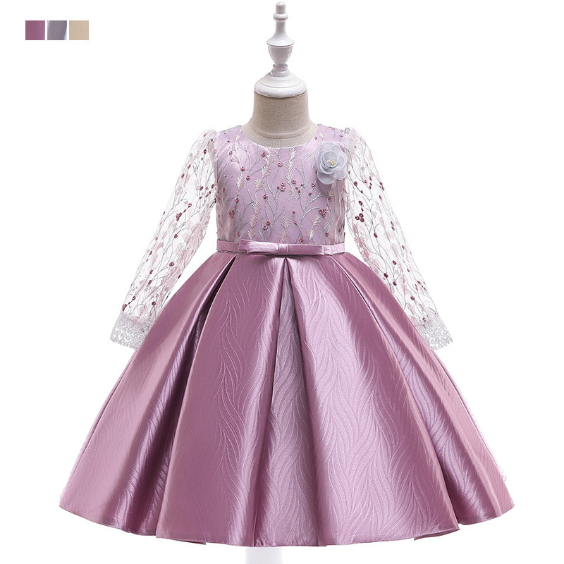 2019 Girls Long Sleeve Formal Dress Gauze Embroidery Wedding Dress Bow Jacquard Princess Dress Catwalks Tutu