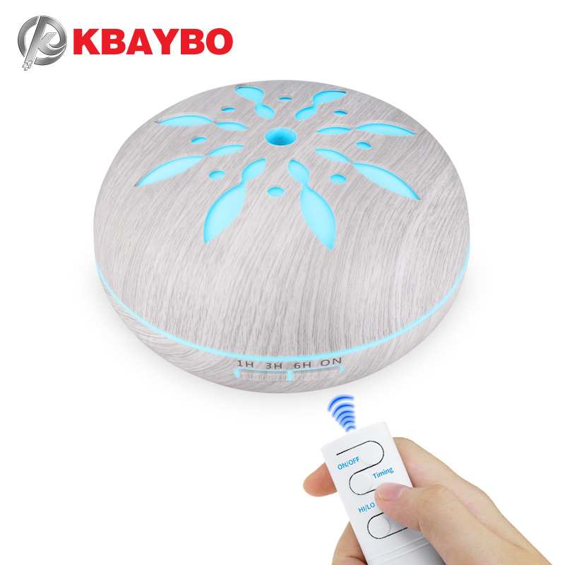 KBAYBO 550ml Remote Control Essential Oil Diffuser Aromatherapy Air Humidifier Cool Mist Maker With  7 Color LED Changing Lights