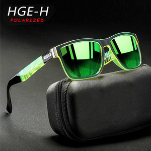 HGE-H Sports Style Polarized Sunglasses Men Very Cool Color Match Square Sun Glasses 100% UV Photochromic Lens Driving Goggles(China)
