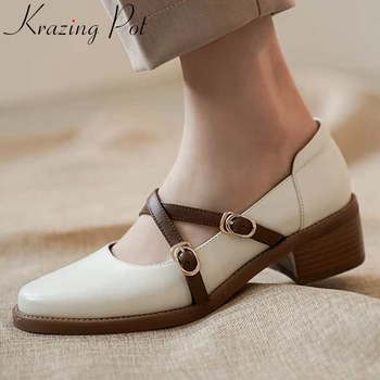 Krazing pot big size mixed colors vintage cow leather round toe med heel buckle strap preppy style young lady shallow pumps L2f1 фото
