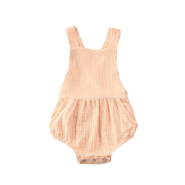 Sleeveless Cotton and Linen Backless Bodysuit -Beige-