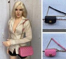 1/6 escala figuras de ação do sexo feminino soldados acessório moda mochila bolsa mini preto rosa saco bjd para bonecas