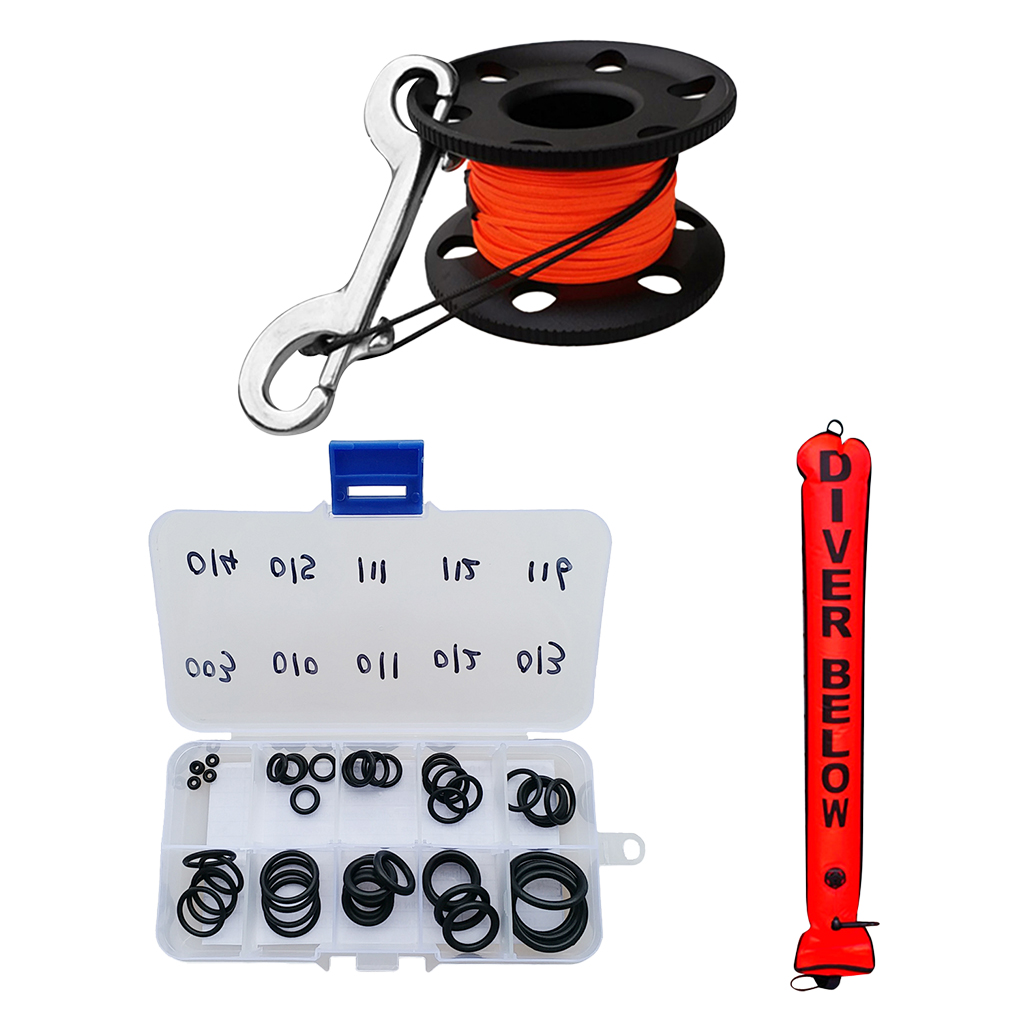 Scuba Dive High Visibility SMB Surface Marker Buoy & Finger Reel & O ring Safety Gear Diving Snorkeling Gauges Accessories