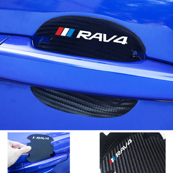 For Toyota RAV4 Hybrid Sport 2013 2006 2018 2011 2020 2019 4pcs Carbon Fiber Car Door Handle Scratch Protector Leather Stickers image
