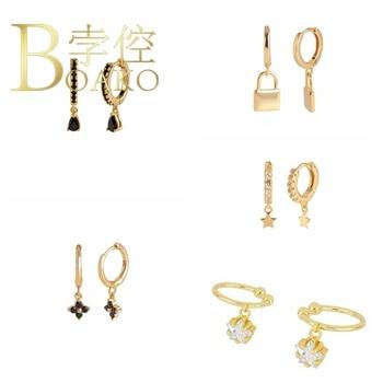 BOAKO Black Zircon Earrings For Women 925 Sterling Silver Серьги Dangle Pendientes Silver/Gold Brincos #5.3