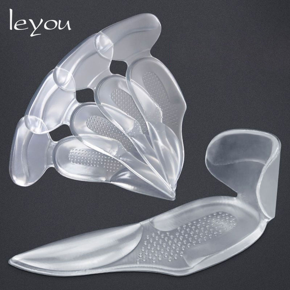 Leyou T Shape Shoe Cushion Silicon Heel Grips Pads Gel Arch Support Insoles For Flat Foot Half Insole Self-adhesive Insert Pad