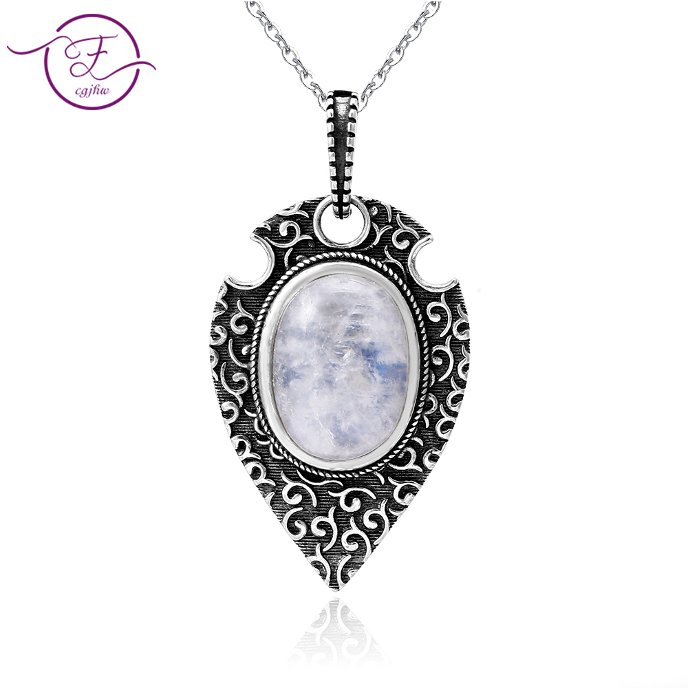 100% S925 Sterling Silver Necklace Pendant Large Oval 10*14MM Natural Moonstone Retro Bohemian Style Necklace Pendant Party