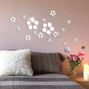 18Pcs Exquisite Flower Wall Sticker Acrylic 3D Mirror Wall Stickers Art Mural House Bedroom Wall Decor TV Background Decoration