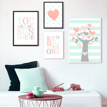 Cartoon Posters And Prints Love Tree Print Painting Nursery Poster Quotes Canvas Wall Pictures For Kids Bedroom