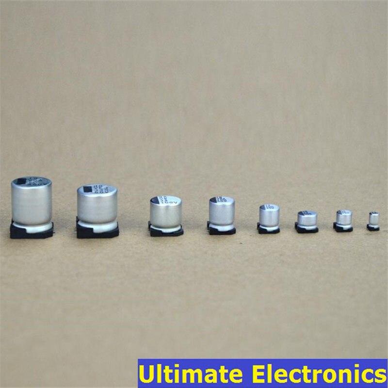 10Pcs/Lot SMD Electrolytic Capacitor 2.5V 4V 6.3V 10V 16V 25V 50V 100V 1uF 2.2uF 4.7uF 10uF 33uF 47uF 100uF 220uF 470uF 1000uF
