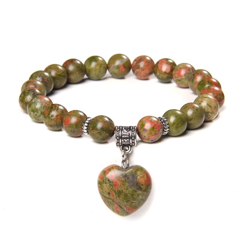 Reiki – Bracelets de perles en pierre naturelle Unkiate, bijoux de Yoga en forme de cœur pour hommes et femmes, 8 mm