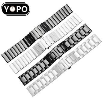 20mm 22mm Pearl ceramic watch band replacement strap For xiaomi Huami strap Amazfit GTS/GTR 42mm 47mm/Bip watchbands
