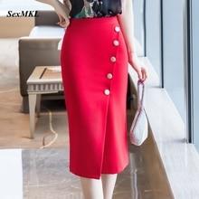 Office Skirts Korean-Clothes Elegant High-Waist Winter Plus-Size Fashion Women Button