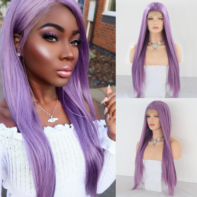 Charisma Long Straight Hair Wig Middle Part Purple Wigs Heat Resistant Fiber Synthetic Lace Front Wig With Baby Hair For Women